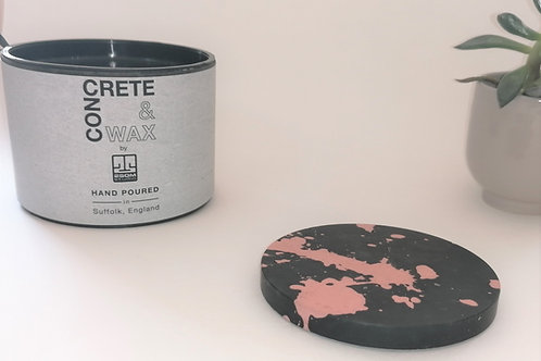 Concrete Coaster (Black/Blush Splatter) set of 4