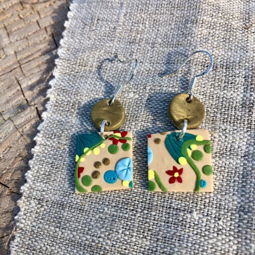 Secret Garden - Circle and Square Dangling Earrings