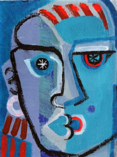Man with stars in His Eyes - Painting