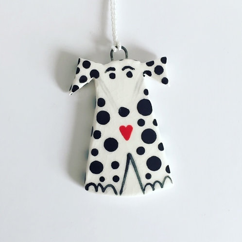Ceramic Hanging Dog, Quirky Dog Gift in black & white spots