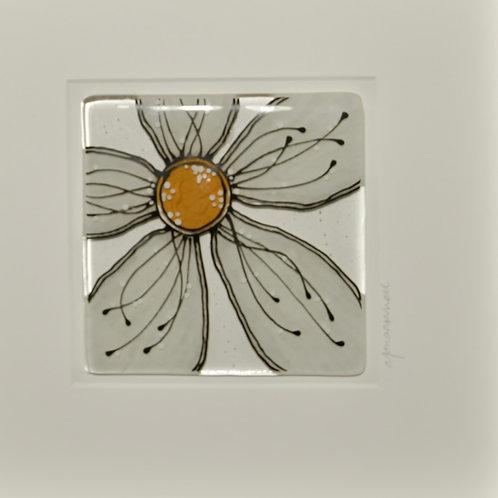 Framed Glass Flower Artwork (White)