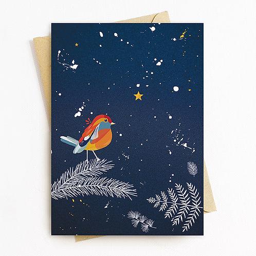 Robin Christmas Greetings Card by Rachel Foley