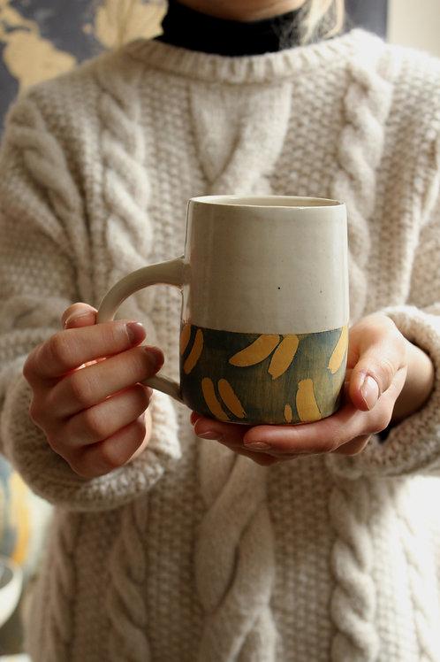 Ochre Brush - Large Stoneware Mug