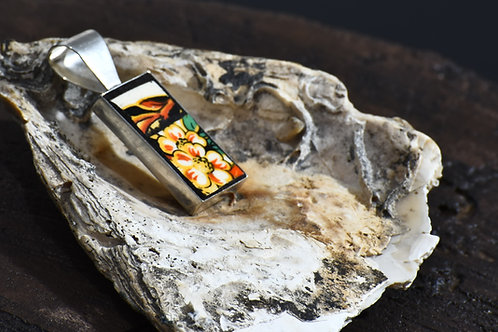 Square Pendant with orange flower