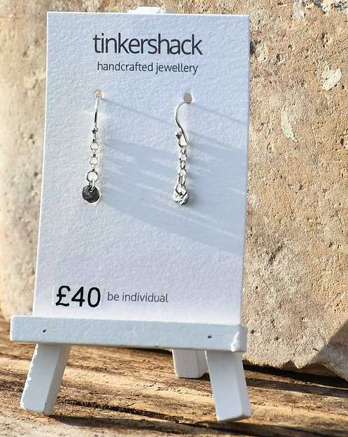 Patinated Hammered Chain Drop Earring