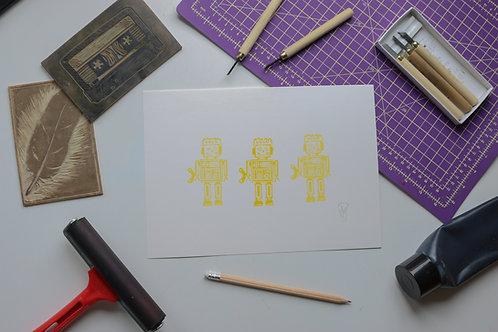 Robots lino print artwork for children - Yellow