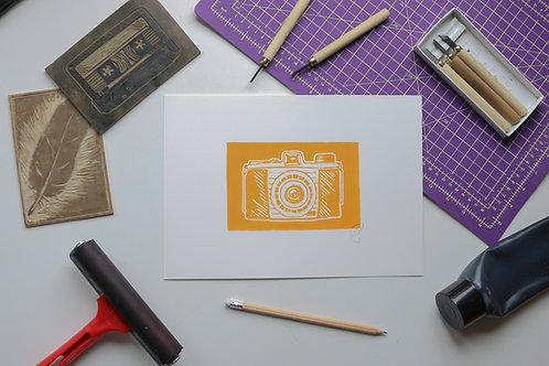 Kodak retro Camera, signed original handmade lino print