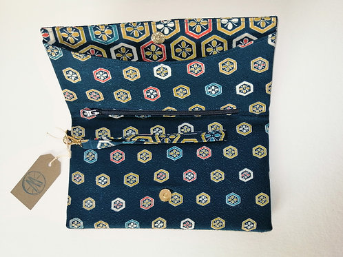 KUUKUO FOLDING WRISTLET CLUTCH (navy, gold and orange)
