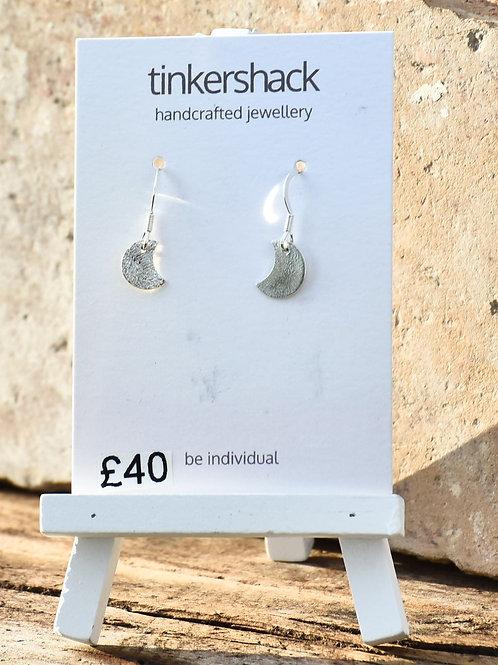 Crescent Moon Drop Silver Earrings