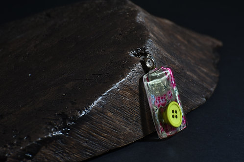 Fabric Tablet Pendant - Yellow Button