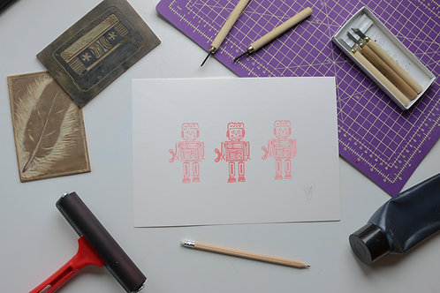 Robots lino print artwork for children - Pink