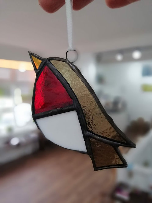 Stained glass robins by Mona Marnell