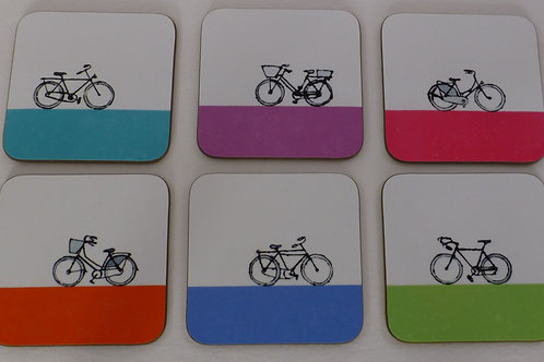 Set of Six Bikes coasters