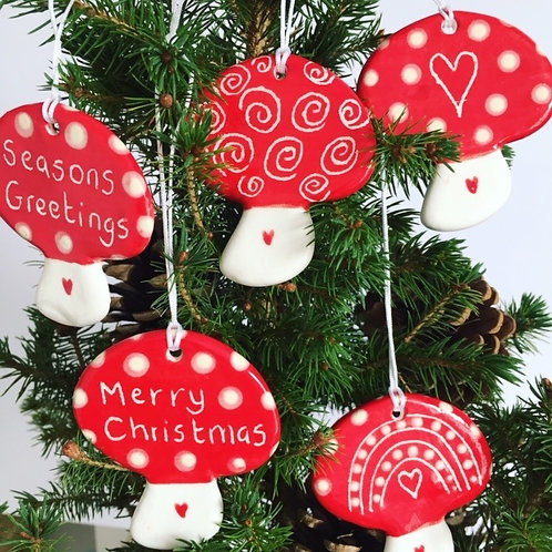 Jolly Mushrooms Christmas Decorations