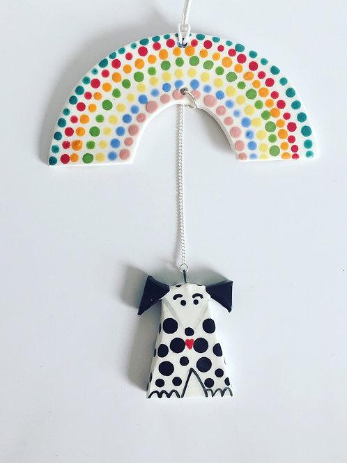 Dog Mobile B&W  by Flora Olney