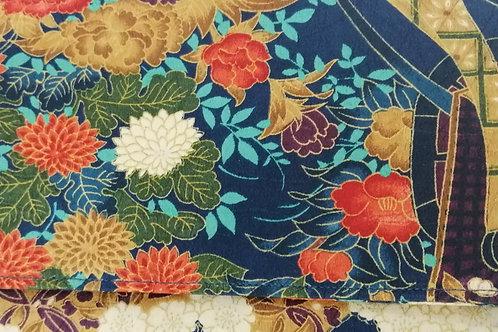 KUUKUO FOLDING WRISTLET CLUTCH BAG (navy background , orange and yellow flowers)