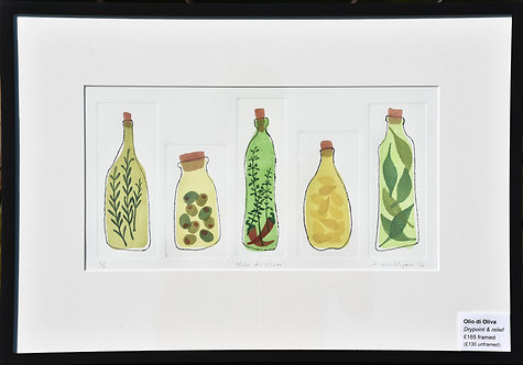 Olio di Oliva - drypoint by Alison Hullyer
