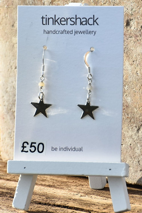 Star Quartz Bead Drop Earrings