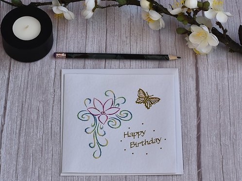 Hand stitched Birthday Card - Blue, Green & Yellow leave