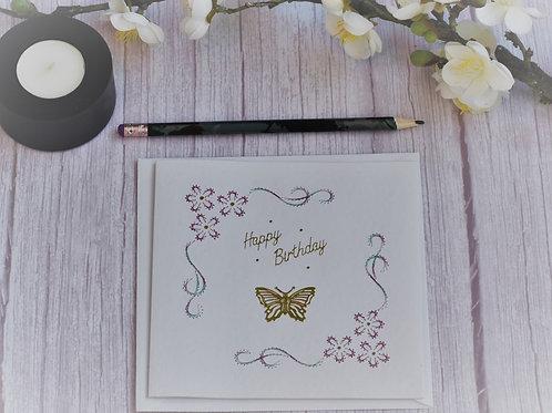 Hand stitched Birthday Card - Framed design