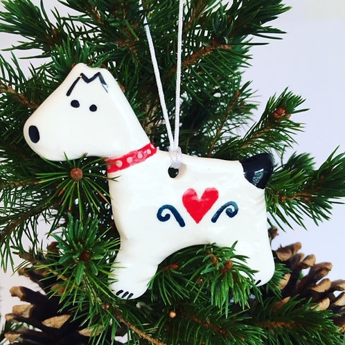 Snow Dog Christmas Decoration