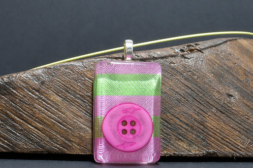Fabric Tablet Pendant - Pink Button