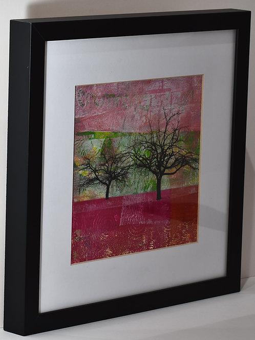 Pink Landscape - Mixed Media Artwork