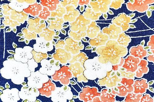 KUUKUO FOLDING WRISTLET CLUTCH BAG (clutch navy, yellow & orange flower)