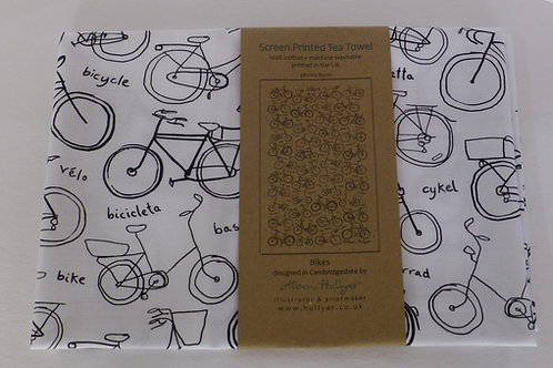 BTT2 Tea Towel - Bikes White