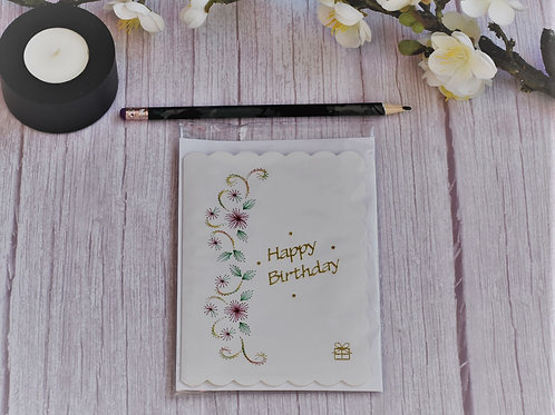 Hand stitched Birthday card - pink flowers and green leaves