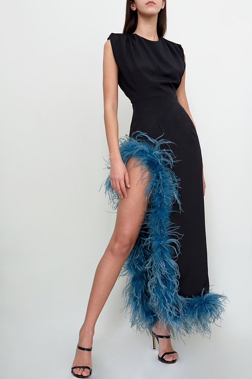 Black Slit Dress with Blue Feathers