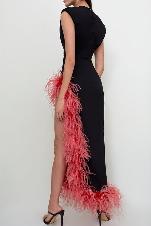 Black Slit Dress with Red Feathers