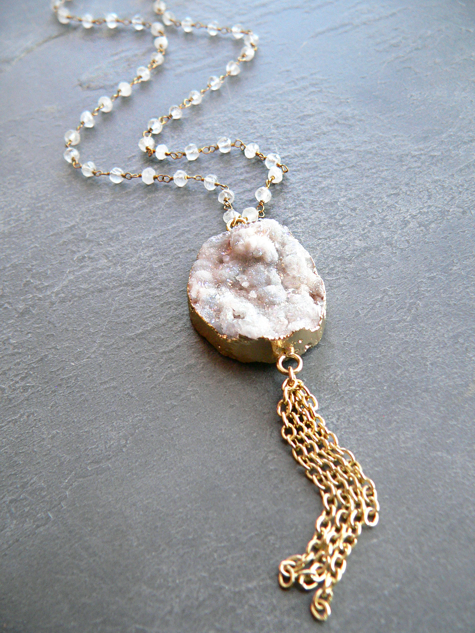 GALAXY DRUZY + MOONSTONE NECKLACE