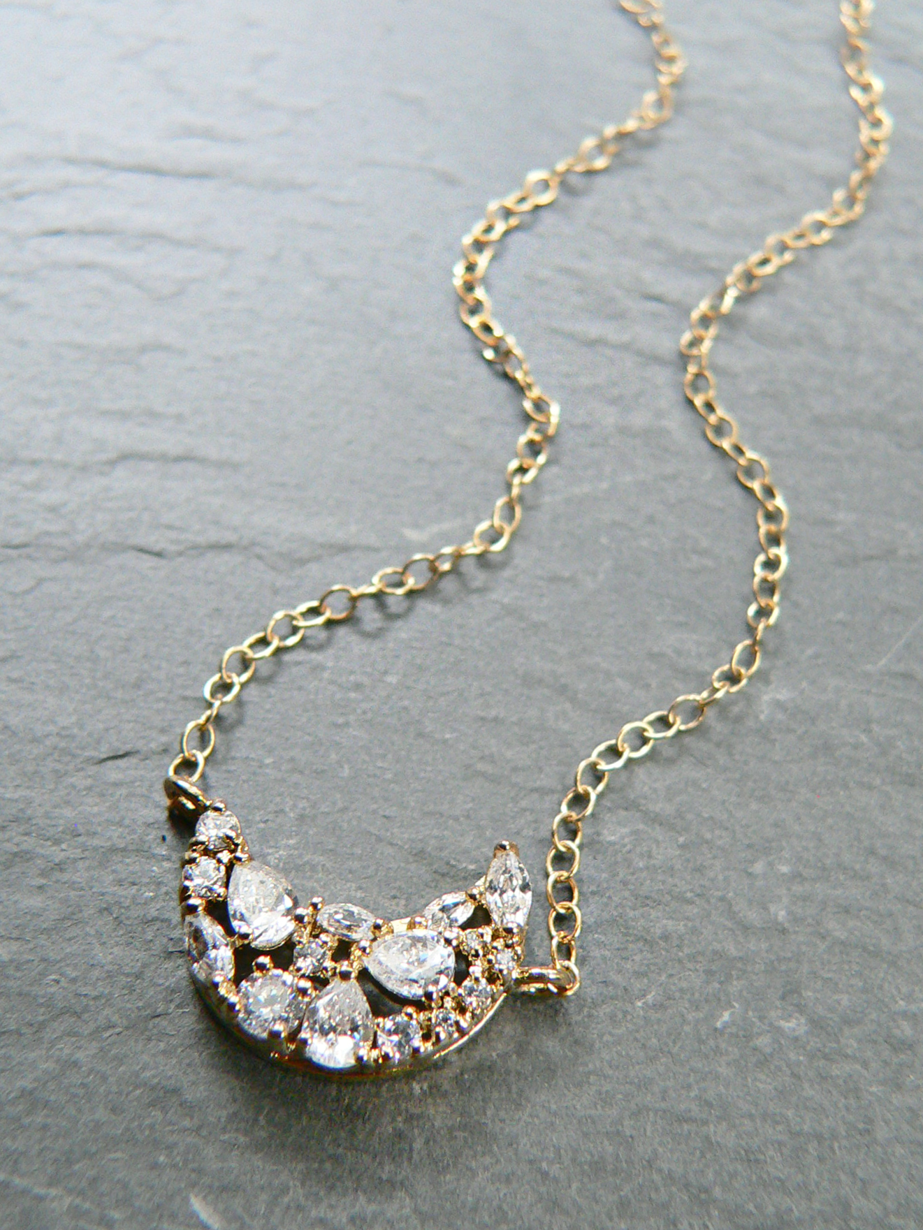 CRESCENT MOON + RHINESTONE NECKLACE