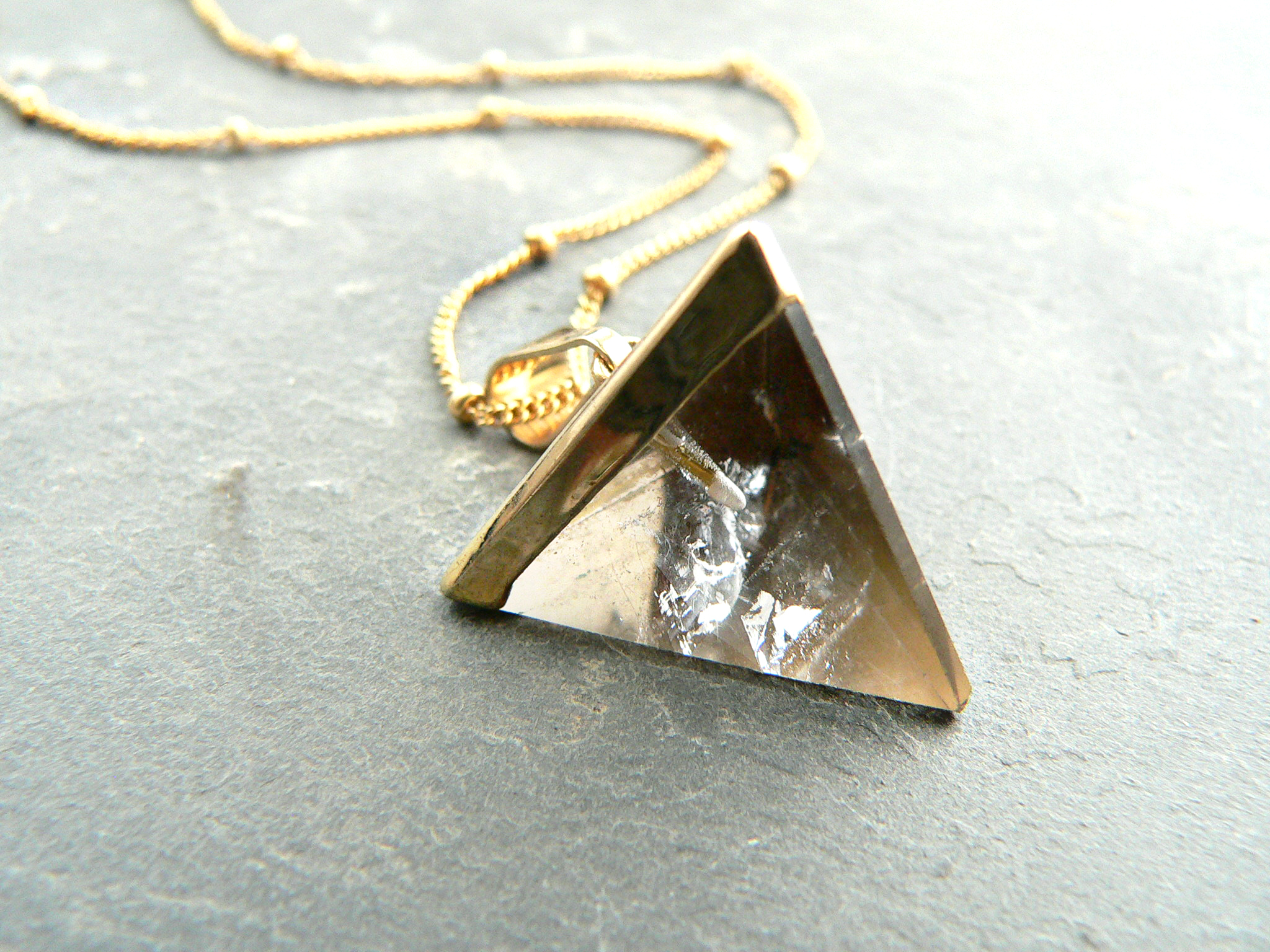 SMOKEY QUARTZ PYRAMID NECKLACE