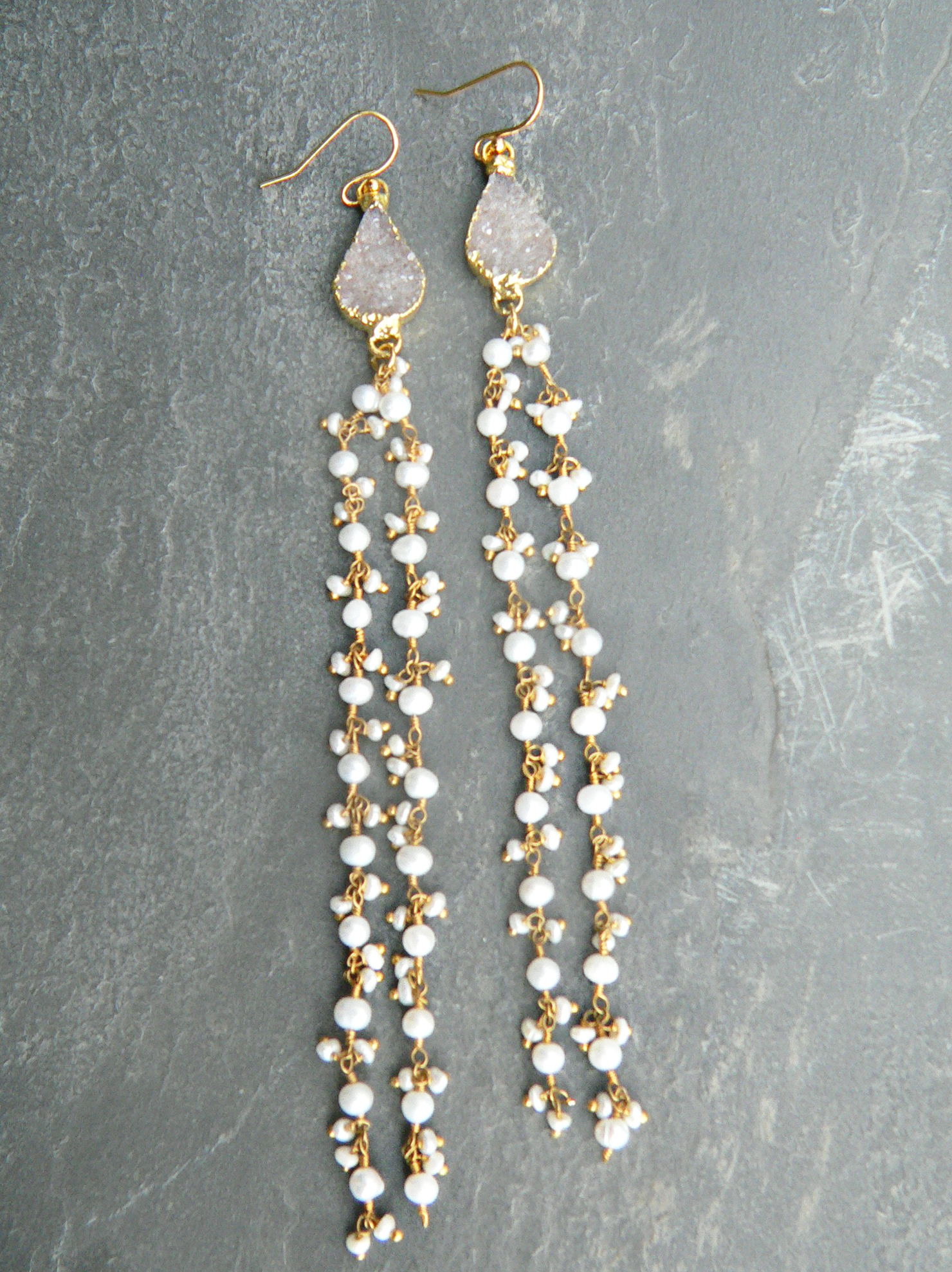 DRUZY + PEARL CHANDELIER EARRINGS