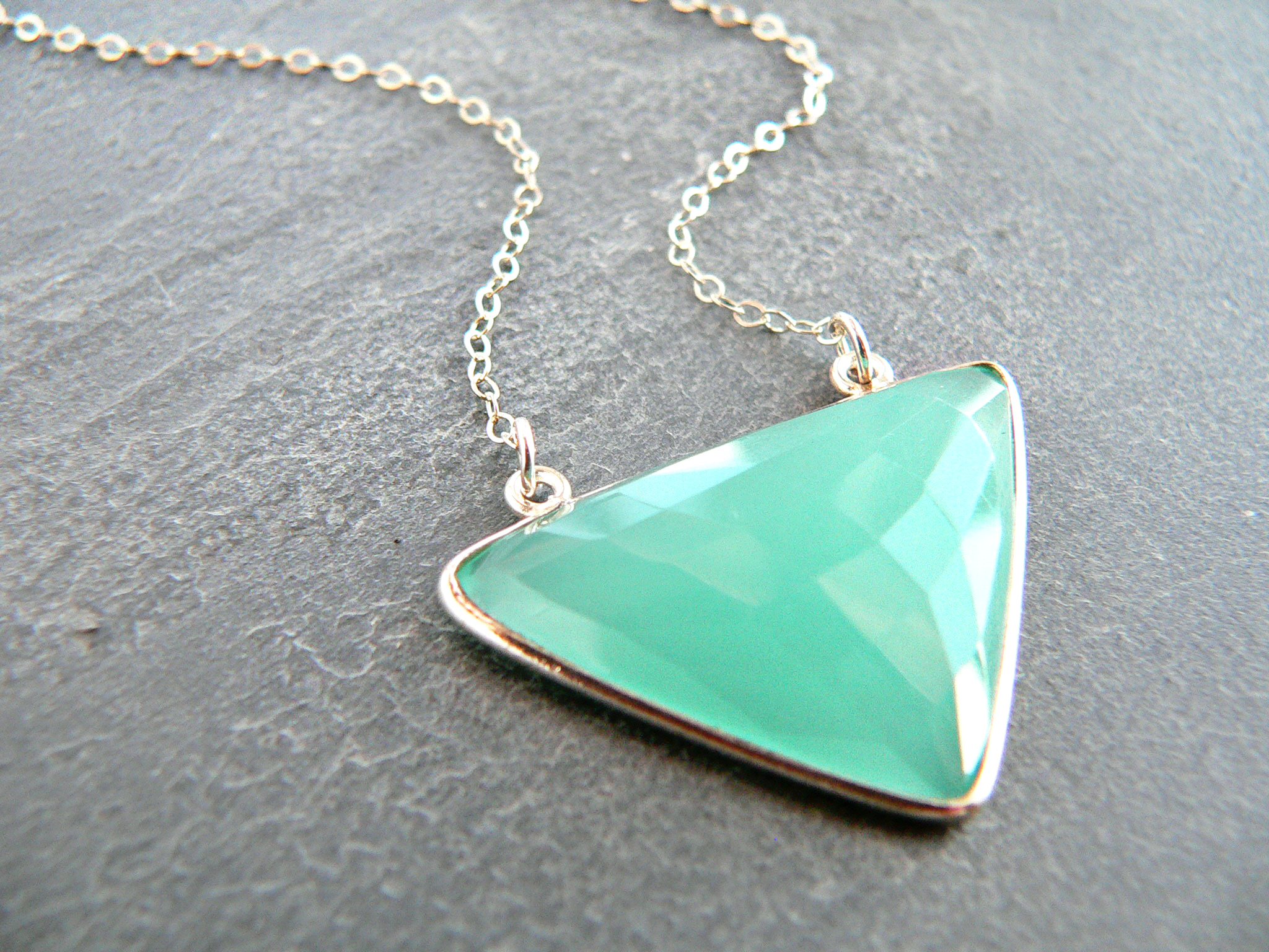 AQUA CHALCEDONY TRIANGLE NECKLACE
