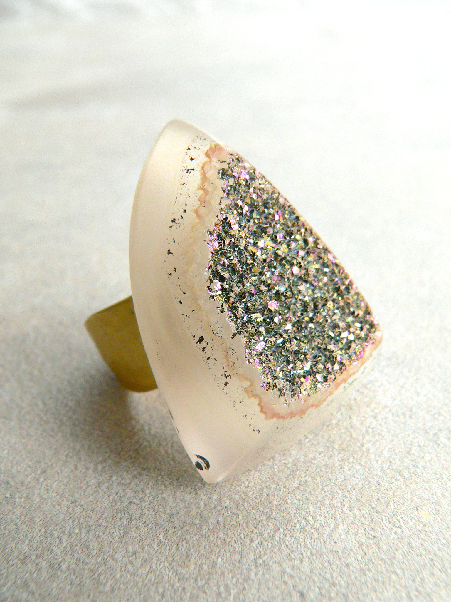 GOLDEN RAINBOW DRUZY RING