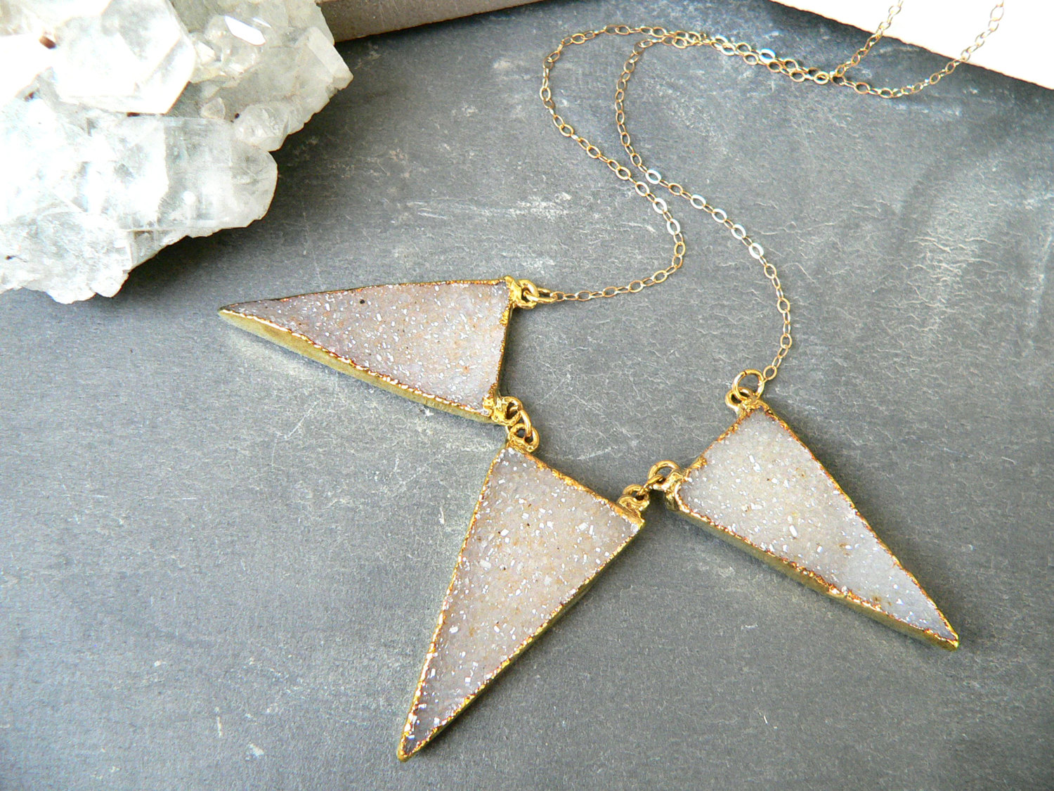 DRUZY TRIANGLE TRIO NECKLACE