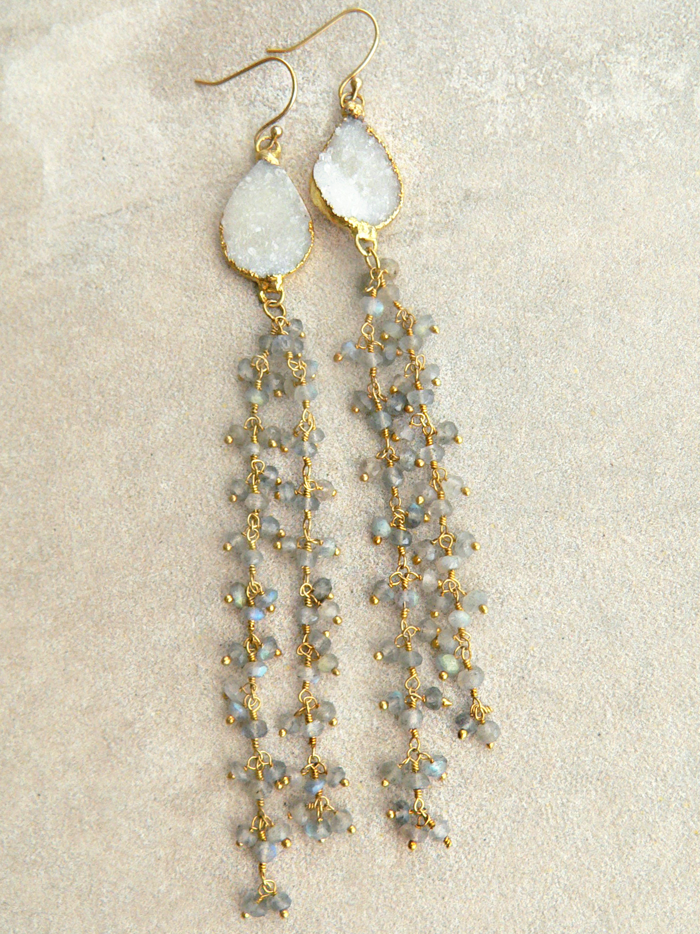 DRUZY + LABRADORITE EARRINGS