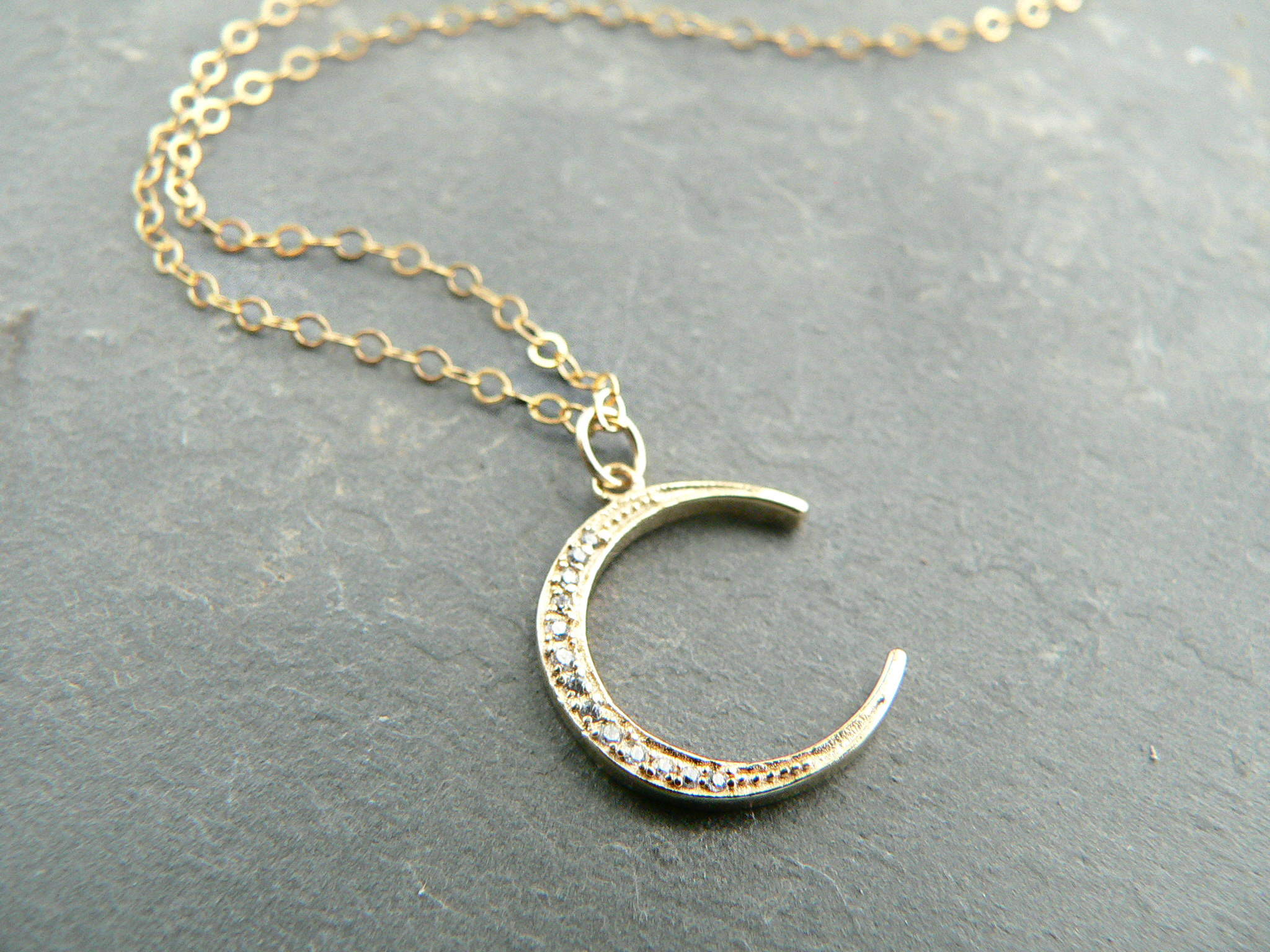 CRESCENT MOON RHINESTONE NECKLACE