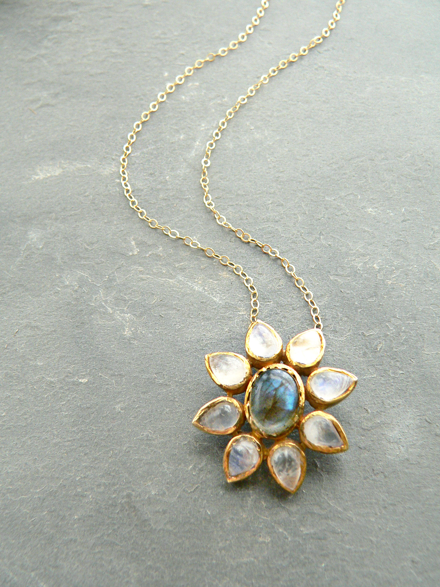 LABRADORITE + MOONSTONE NECKLACE