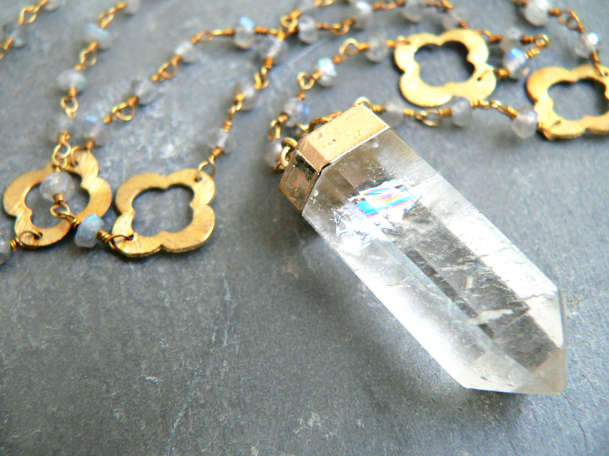 LABRADORITE + CRYSTAL POINT NECKLACE
