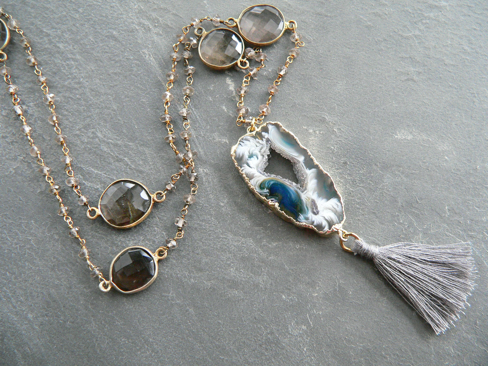 BLUE GEODE + SMOKEY QUARTZ NECKLACE