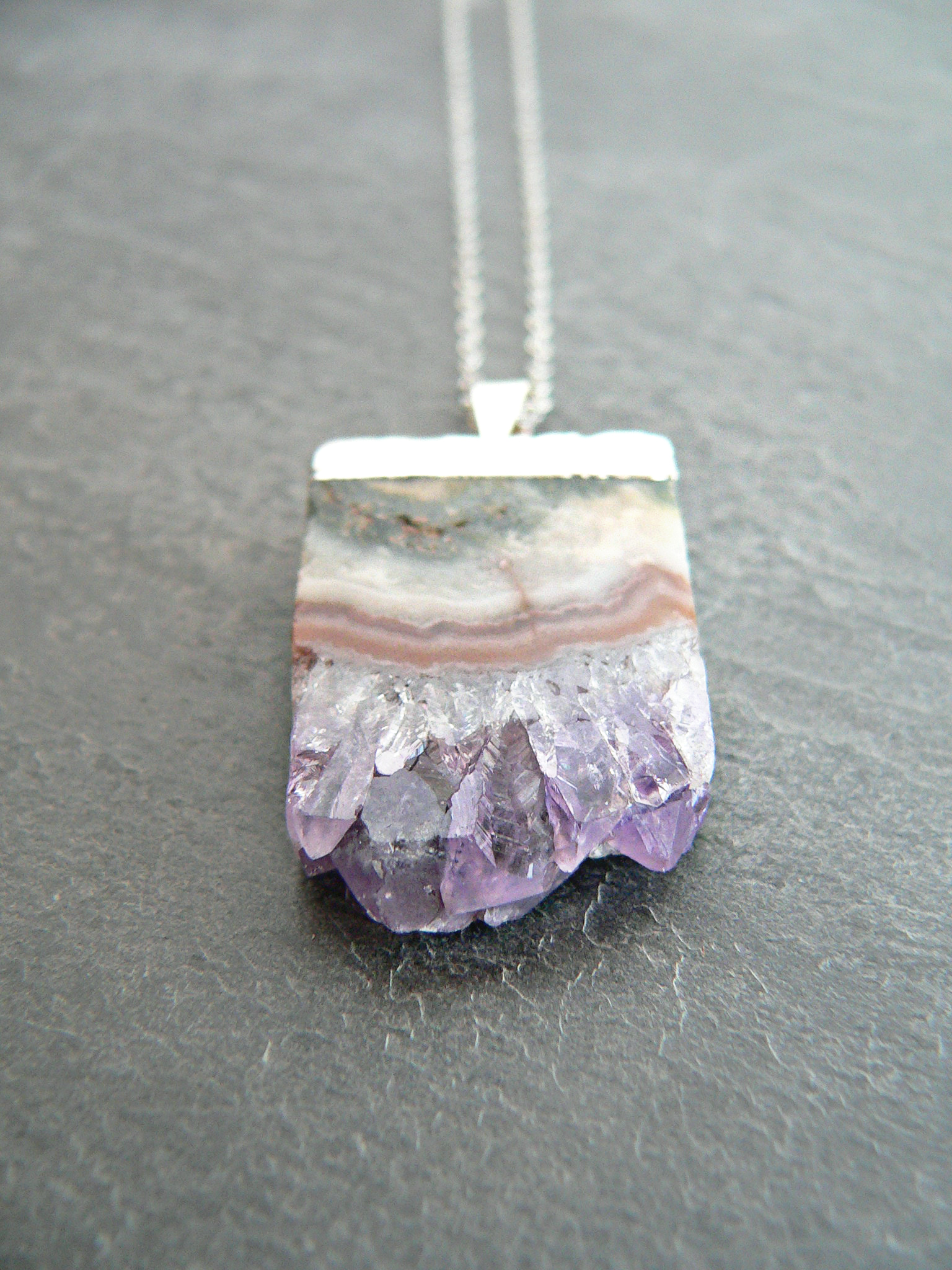 AMETHYST STALACTITE SLICE NECKLACE