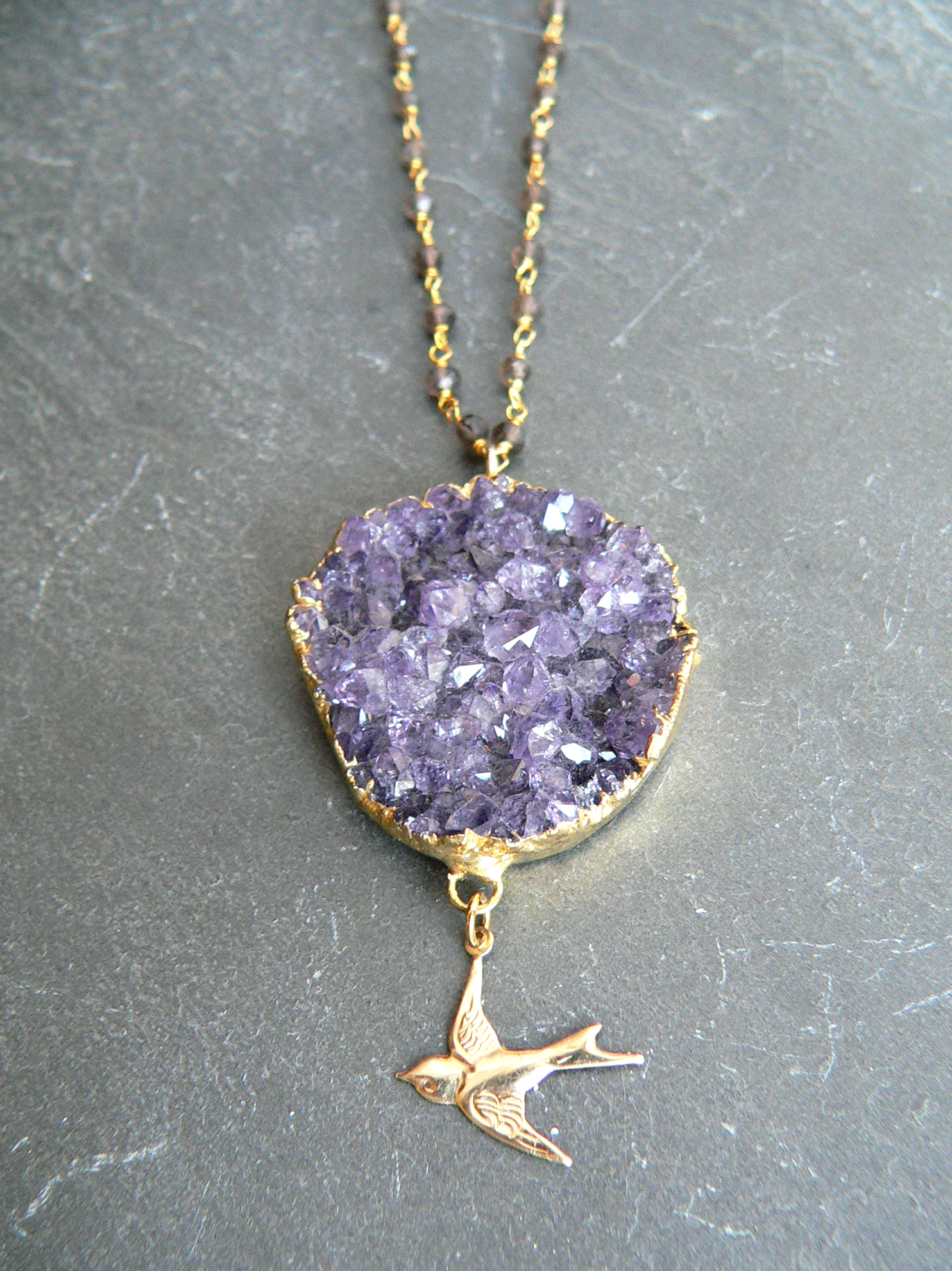 AMETHYST + SMOKEY QUARTZ NECKLACE