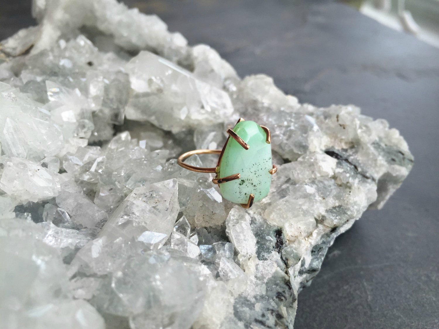 CHRYSOPRASE STONE GOLD FILLED RING