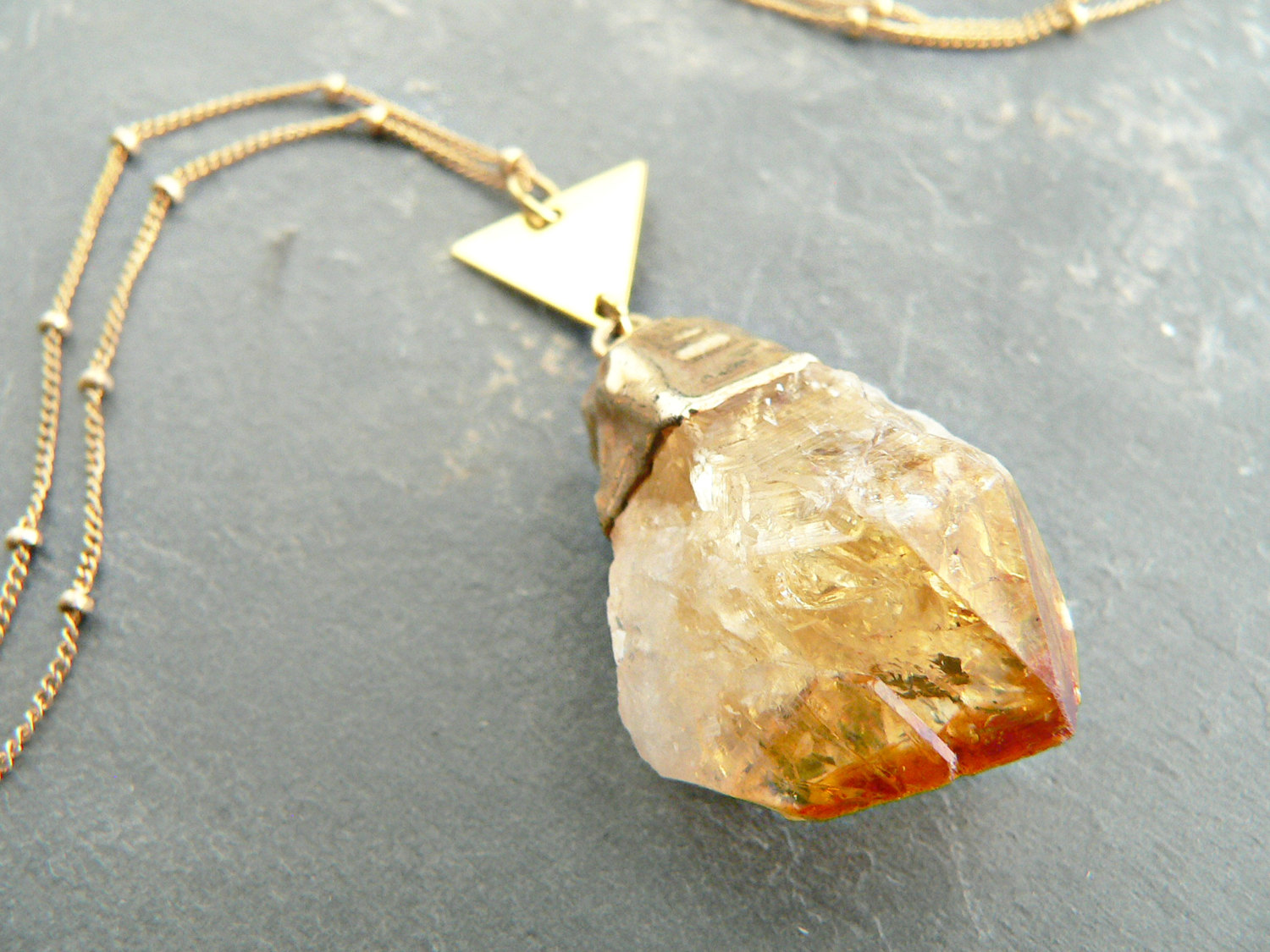 CITRINE POINT + TRIANGLE NECKLACE