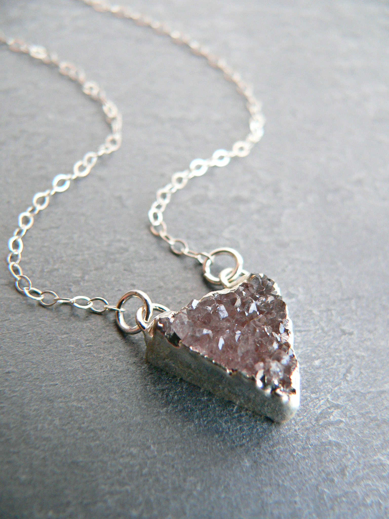 PETITE DRUZY CRYSTAL SILVER NECKLACE