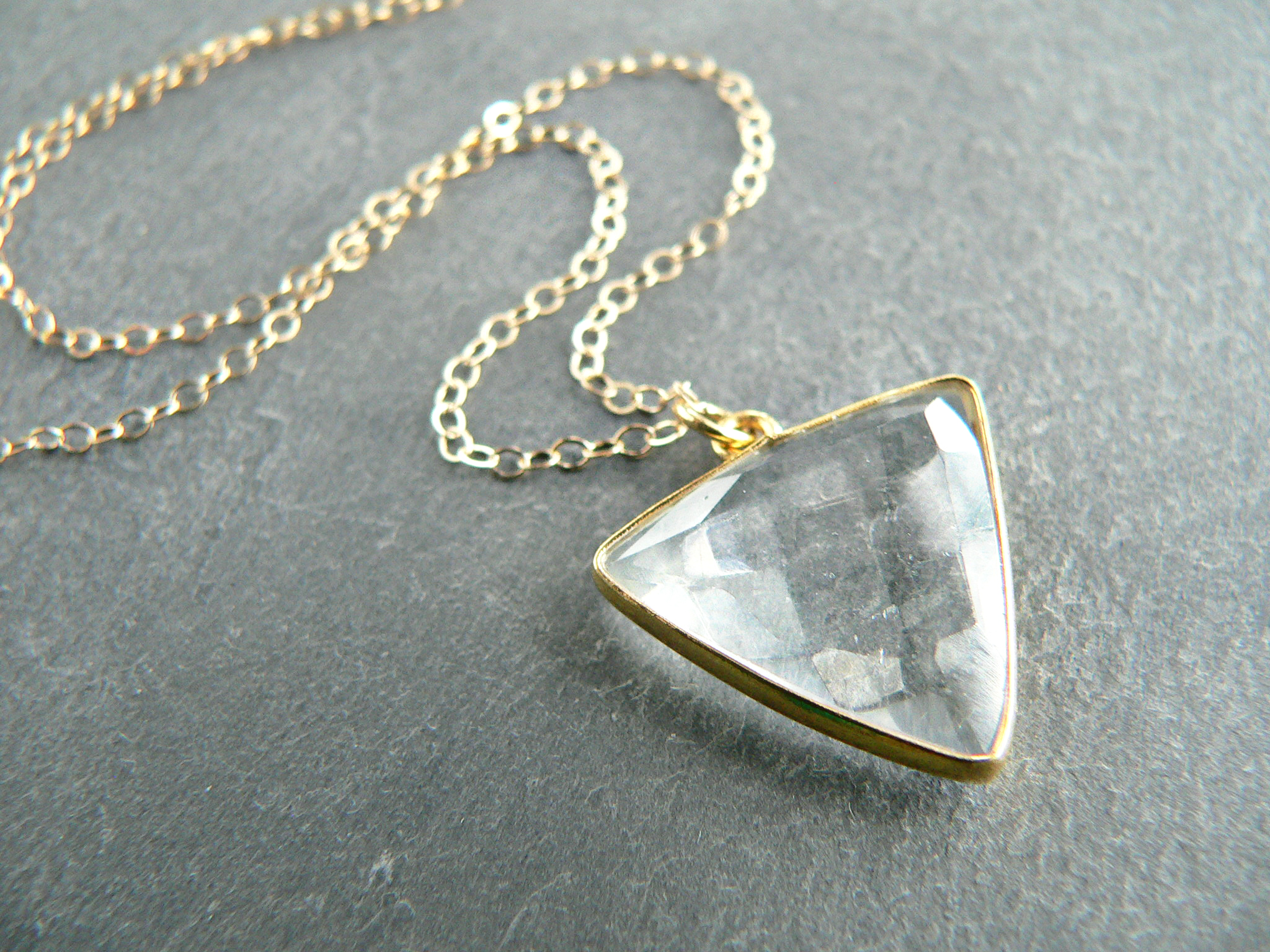 QUARTZ CRYSTAL TRIANGLE NECKLACE